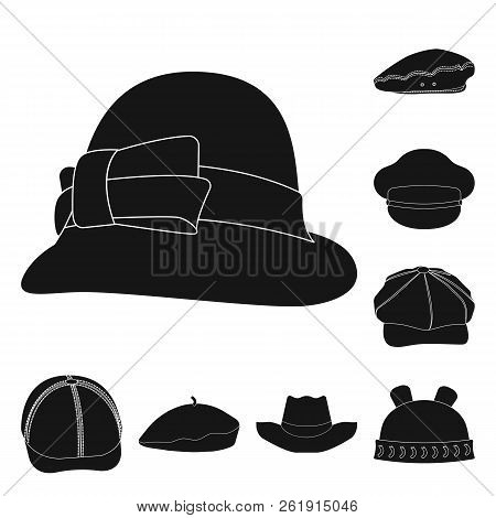 Isolated Object Of Headgear And Cap Icon. Collection Of Headgear And Accessory Stock Vector Illustra