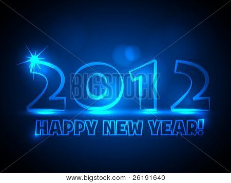 2012 - Vector New Year Card - Blue Neon Lights