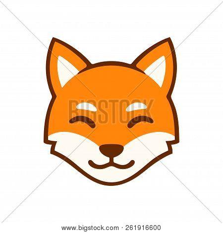 Cute Cartoon Smiling Fox Face Logo. Stylized Red Fox Head Vector Illustration.