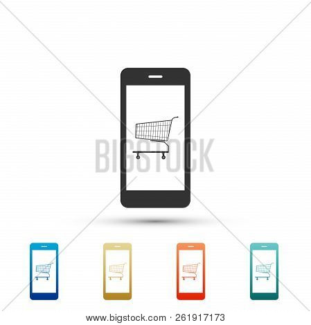 Online Shopping Concept. Shopping Cart On Screen Smartphone Icon Isolated On White Background. Conce