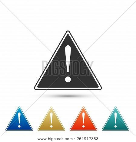Exclamation Mark In Triangle Icon Isolated On White Background. Hazard Warning Sign, Careful, Attent