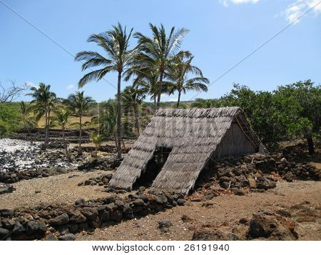 traditional Hawaiian hut settlement on the beach on the big island of hawaii