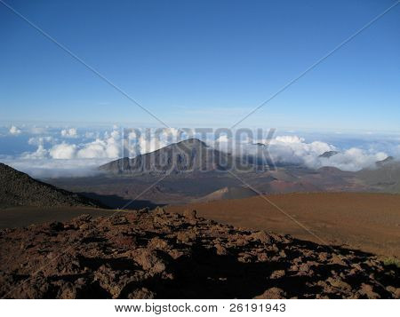 view from the summit of Haleakala crater, above the clouds