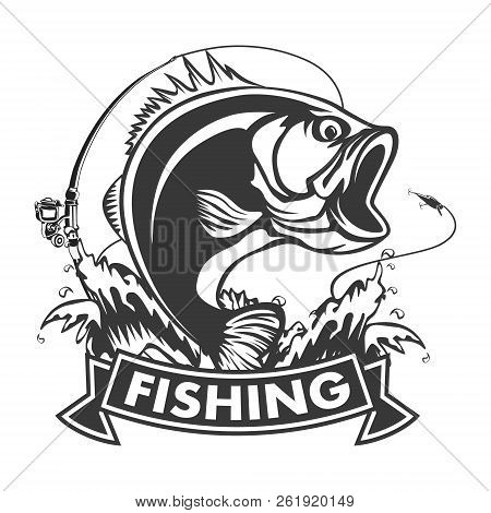 Angry Piranha Fishing Logo. Vector Illustration Can Be Used For Creating Logo And Emblem For Fishing