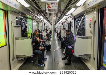 Shanghai/china -  January 25 2015: A Most Unidentified People Use Shanghai Metro For Transit