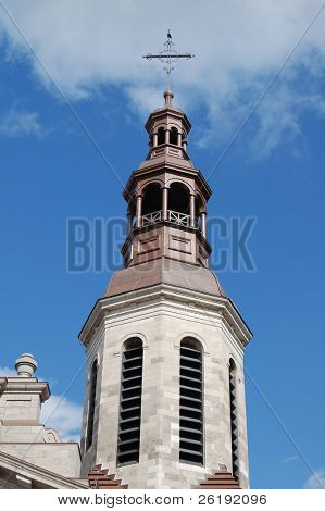 church steeple and blue sky, quebec city