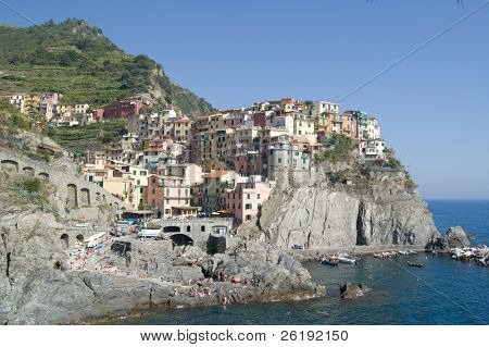 View of Manarola, from the coast to the north, Italy