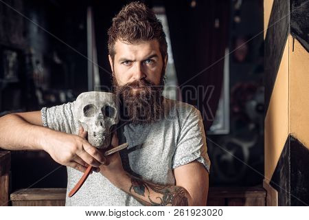 Hair Salon And Barber Vintage. Barber Making Haircut Of Attractive Bearded Man In Barber Shop. Barbe
