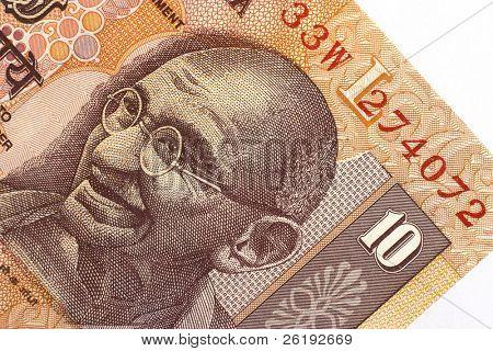 Mohandas (Mahatma) Gandhi's image on an Indian 10 rupee note.