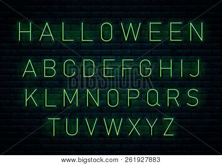 Happy Halloween. Bat Neon Sign, Bright Signboard, Light Banner. Halloween Neon Logo, Light Banner De