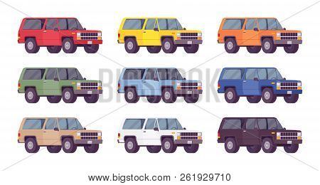Suv, Offroad Set In Bright Colors. Powerful Vehicle With Four-wheel Drive For Rough Ground, Travelin