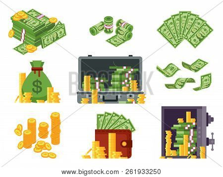 Money Banknote. Cash Bag, Banknotes Wallet And Dollars Heap In Safe. Lots Dollar Piles And Gold Coin