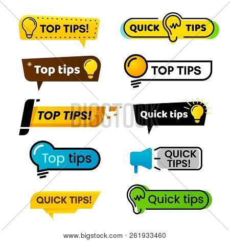 Quick Tips. Idea Suggestion, Tricks Solutions Advice And Best Solution Tip Isolated Vector Banner Si