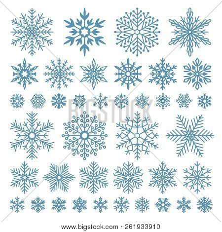 Flat Snowflakes. Winter Snowflake Crystals, Christmas Snow Shapes And Frosted Cool Icon Vector Symbo