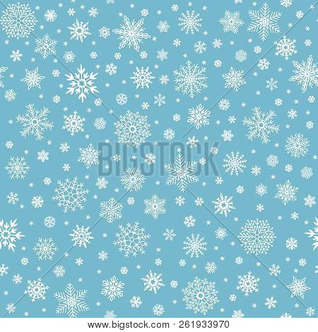 Snowflakes Seamless Pattern. Winter Snow Flake Stars, Falling Flakes Snows And Snowed Snowfall Vecto