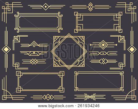 Art Deco Line Border. Modern Arabic Gold Frames, Decorative Lines Borders And Geometric Golden Label