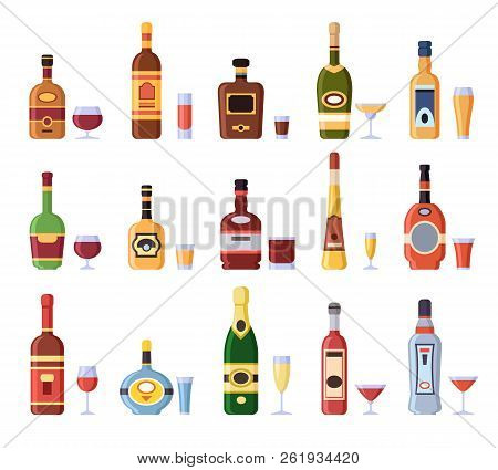 Alcohol Bottles And Glasses. Alcoholic Bottle With Cider, Vermouth In Glass Or Liqueur Shot And Wine