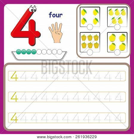 Number Cards, Counting And Writing Numbers, Learning Numbers, Numbers Tracing Worksheet For Preschoo