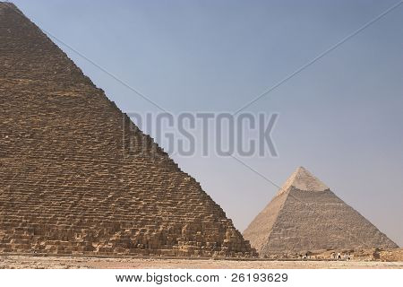 Khephren's pyramid seen behind the Great Pyramid of Cheops, Giza