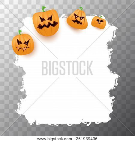 Halloween Web White Grunge Cartoon Banner Or Poster With Halloween Scary Pumpkins Isolated On Transp
