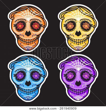 Set Calavera Sign Dia De Los Muertos. Mexican Day Of The Dead. Vector Hand Drawing Illustration Man