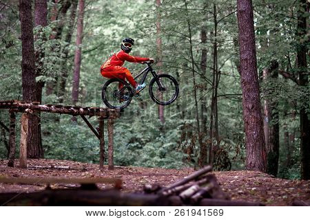 Moscow, Russia - October 07, 2018: Jump And Fly On A Mountain Bike. Rider In Action At Mountain Bike