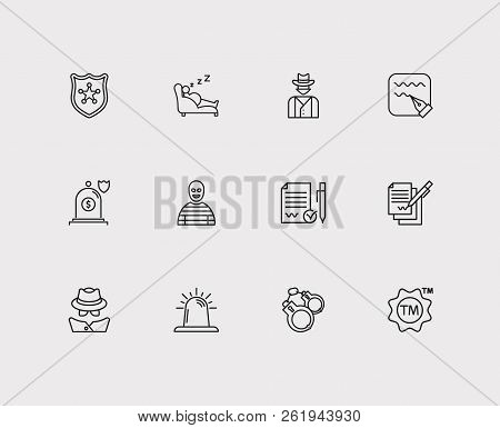 Legal Icons Set. Crime And Legal Icons With Police, Siren And Legal. Set Of Face For Web App Logo Ui