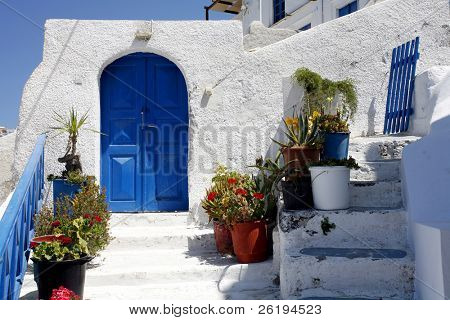 The entrance to a property in Santorini, Greece