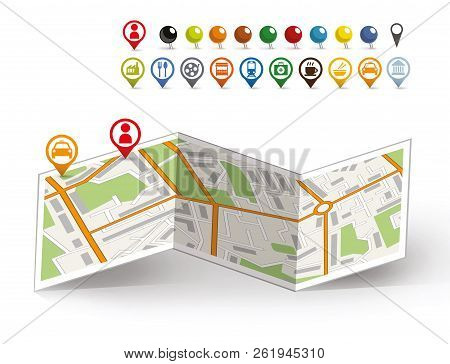 Location On The Markers Map. Location On The Map Of Markers Of My Position And Taxi. City Map With V