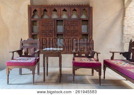 Cairo, Egypt - September 15 2018: Vip Lounge At Ottoman Era Historic House Of Egyptian Architecture,