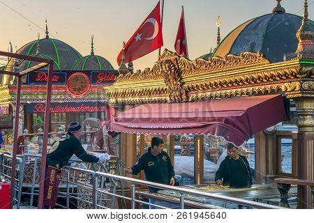 Istanbul, Turkey - April 25, 2017: Chefs Preparing Food In A Traditional Fast Food Bobbing Boat Serv