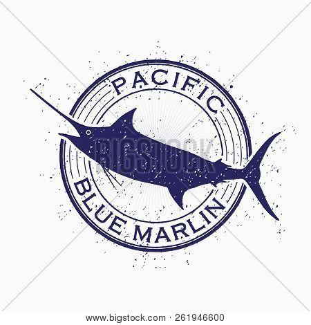 Marlin Fish Vector And Illustration. Stamp Fish. Swordfish.