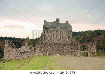 Historic Neidpath Castle, Peebles, Scotland, in autumn. Dating from the 14th Century with 17th Century conversion to a tower house. Detailed history at http