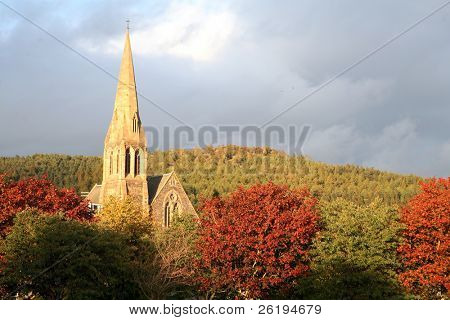 A Church in the Scottish town of Peebles, hidden among the trees