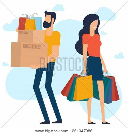 Yong Man And Woman At Shopping. Flat Desin Vector Concept. Ready For Animation Characters And Design