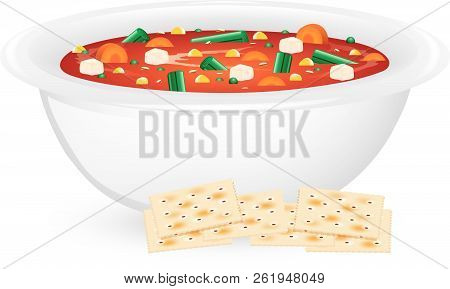 Illustration Of A Bowl Of Vegetable Soup With Saltine Crackers.