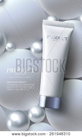 Facial Anti-wrinkle Cream Ads Poster Template. Cosmetics Premium Product. Cosmetic Packaging Mockup