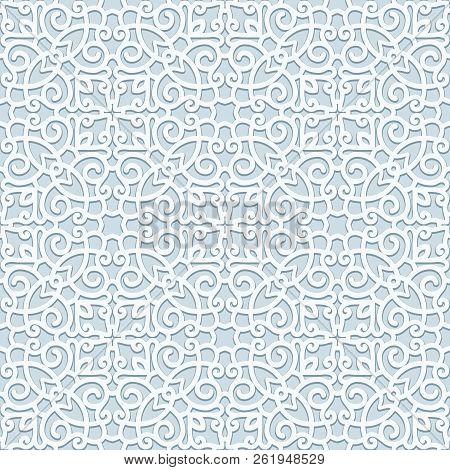 Curly Ornament, Seamless Scrollwork Pattern In Grey Color, Swirly Lace Texture