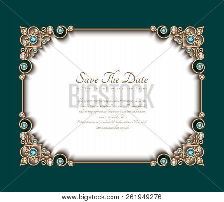 Vintage Photo Frame, Save The Date Card With Jewelry Corner Patterns, Jewellery Gold Decoration With