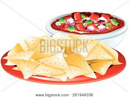 Illustration Of A Bowl Of Alphabet Soup With Saltine Crackers.
