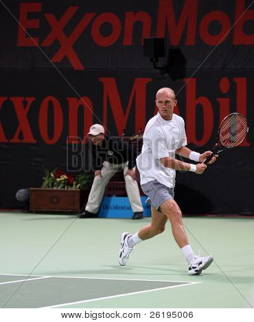 Nikolay Davydenko in the semi-final of the Qatar Open 2007, which he lost to Andy Murray, Jan 05, 2007.