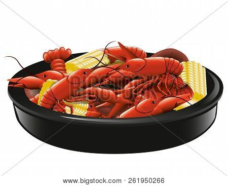 Illustration Of Boiled Crawfish With Corn And Potatoes