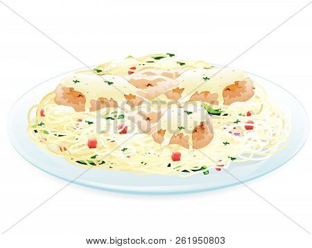 Illustration Of Chicken Scampi With Chicken On Top Of Angel Hair Pasta