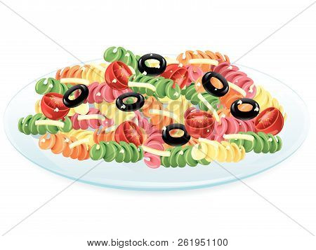 Illustration Of Pasta Salad With Olives And Cheese