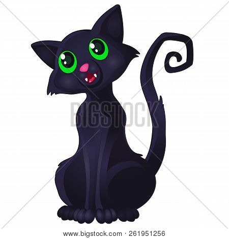 Funny Sly Black Cat With Green Eyes And Curved Spiral Tail Shows Tooth Isolated On White Background.