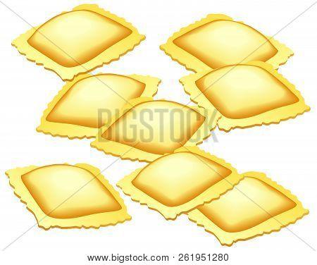 Illustration Of Ravioli Pasta On A White Background