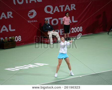 Germany's rising tennis star Sabine Lisicki in action against Amelie Mauresmo in the first round of the Qatar Total Open, Doha, February 18, 2008. Lisicki lost.