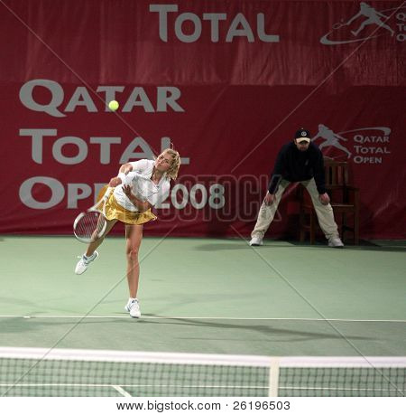 Maria Kirilenko during her first-round tie against qualifier Ekaterina Makarova in the Qatar Total Open, Doha, February 18, 2008.