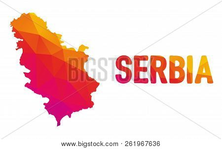 Low Polygonal Map Of The Republic Of Serbia (republika Srbija) Also Known As Serbia (srbija) With Si