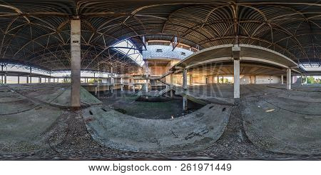 Full spherical seamless 360 degrees angle view panorama concrete structures abandoned unfinished building of airport in equirectangular equidistant projection, VR AR content poster